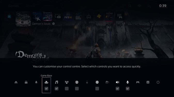 Customize PS5 Control Center by checking boxes in the Edit mode
