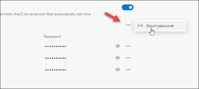 export saved passwords from edge