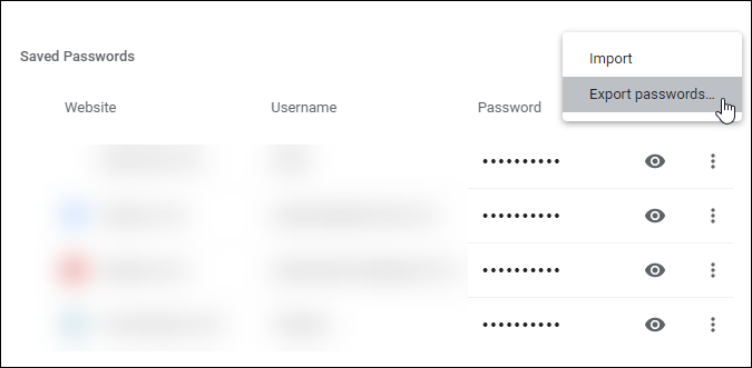 export passwords settings in chrome