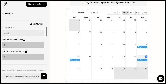 calendar widget in notion