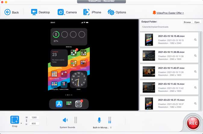 record iPhone screen with Videoproc
