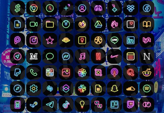 neon pack- ios 14 icon pack for iphone