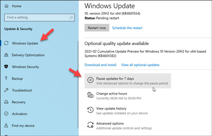 pause windows 10 update download