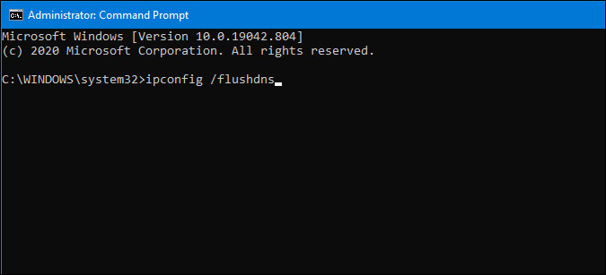 flush dns cache using command prompt on windows 10