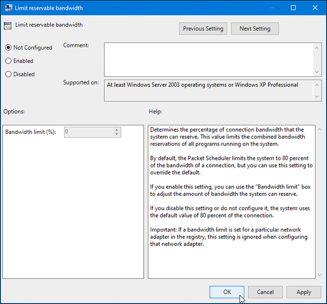 disable limit reservable bandwidth settings on windows 10
