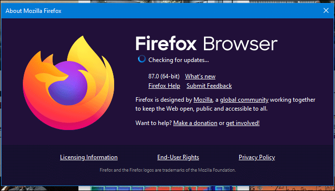 check for firefox updates