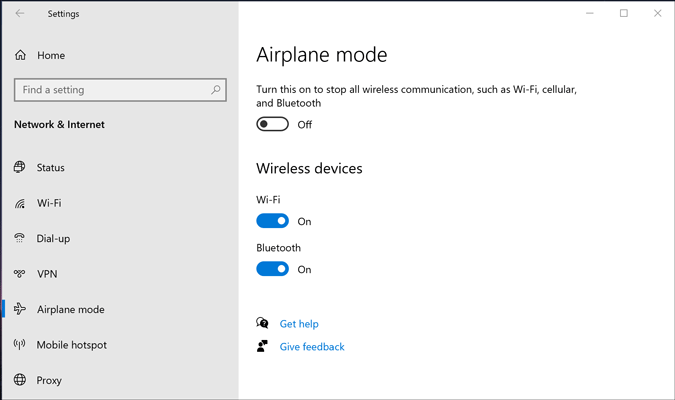 turn off airplane mode from windows settings