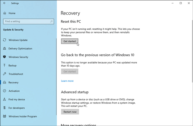 reset this pc in windows settings