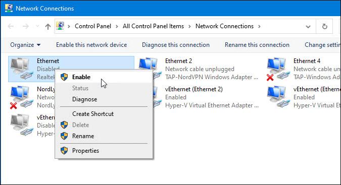 enable internet source on windows 10