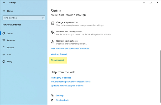 reset network settings in windows 10