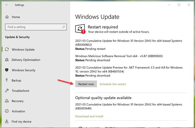 install pending windows updates