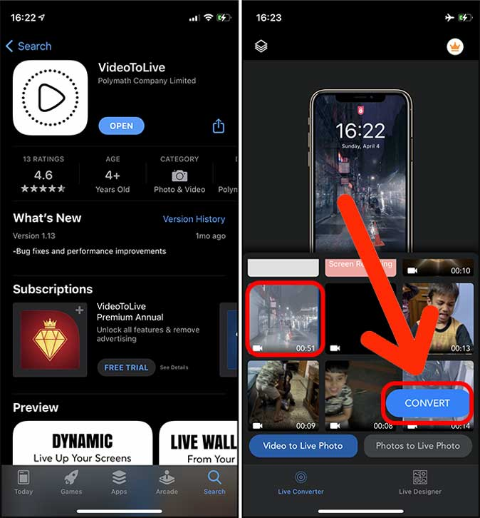 select a video in the app VideotoLive