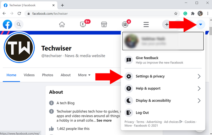 Facebook's Settings & Privacy option