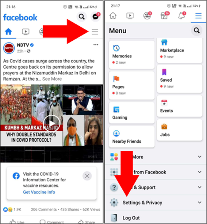 Facebook app's Settings & Privacy page