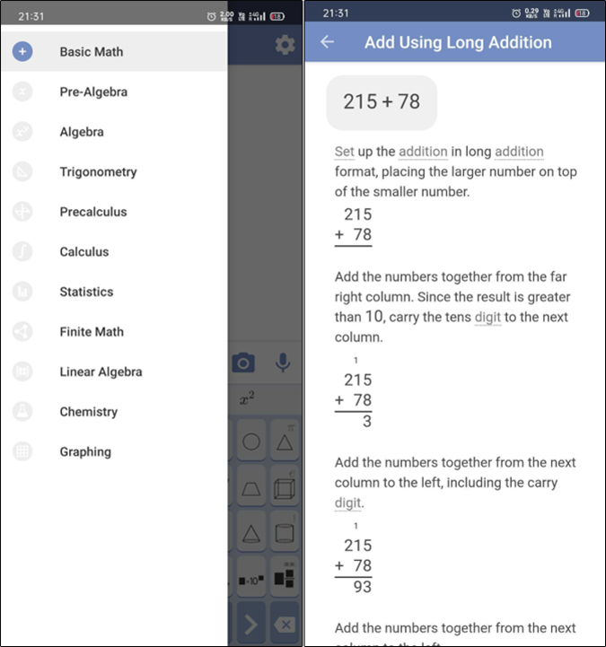 Mathway app for solving math problems