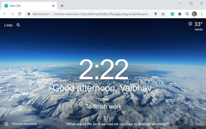 Momentum new tab Chrome extension