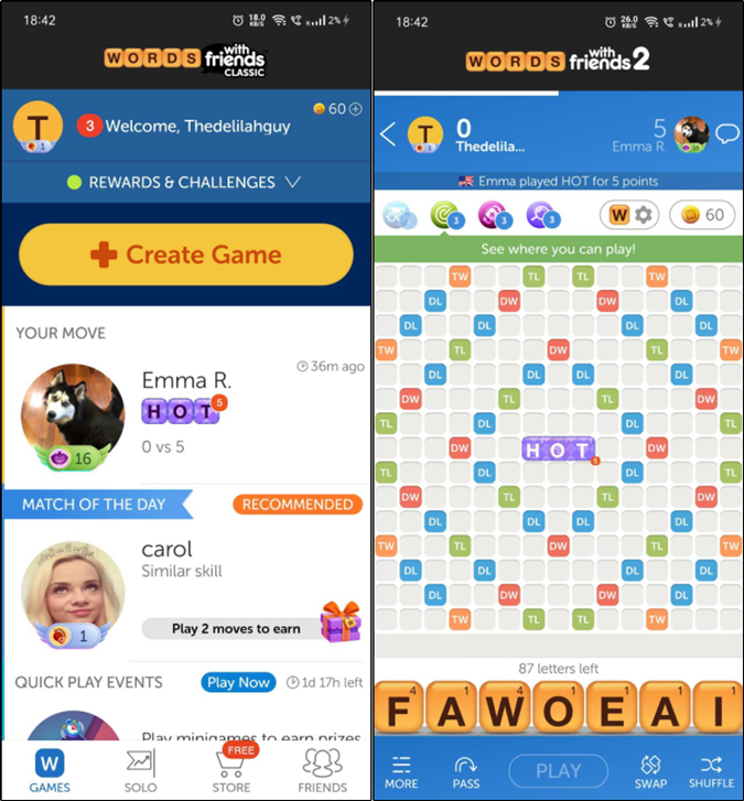 Words with Friends vocabulary builder app