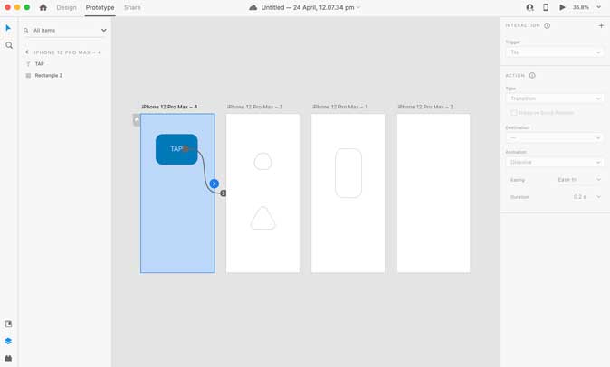 Adobe Prototyping with multipage links