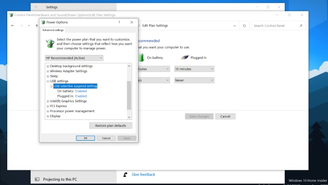enable USB root in windows 10
