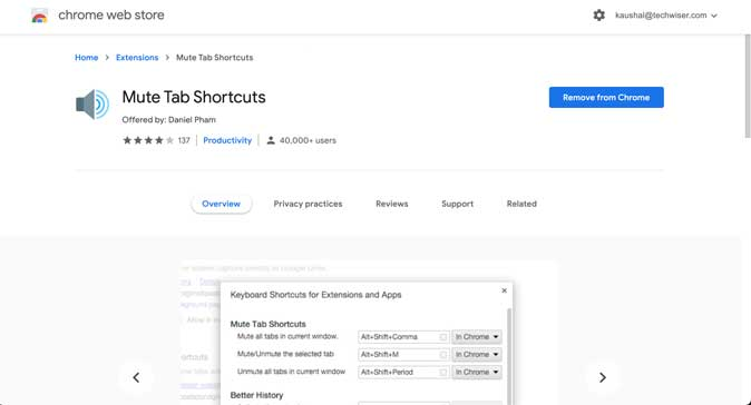 Mute Tab Shortcuts- Mute a tab on Chrome with keyboard shortcuts