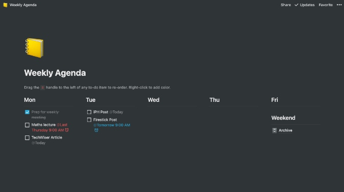 notion weekly agenda
