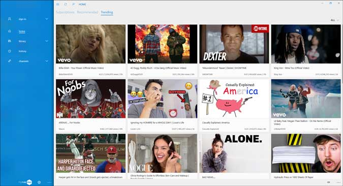mytube search result on windows 10