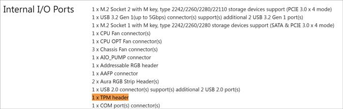 internal i/o ports for b450f
