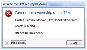windows error code 0x80070005-trusted-platform-module-tpm