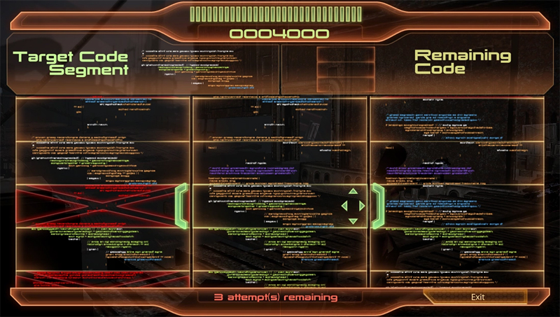 Screen shot from Mass Effect 3 device hacking mini-game.