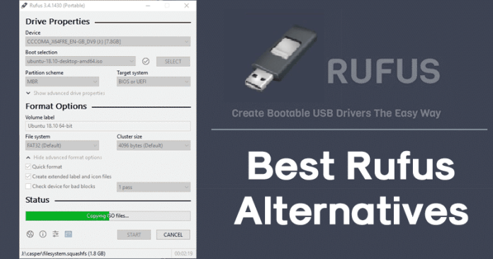 rufus alternative, top 10 rufus alternative, best rufus alternative, this version of rufus doesn't support iso, unetbootin alternative