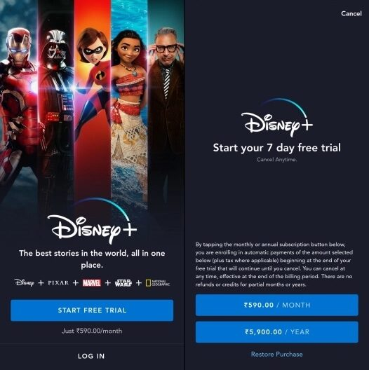 watch Disney+ application india, ree disney plus hotstar premium account