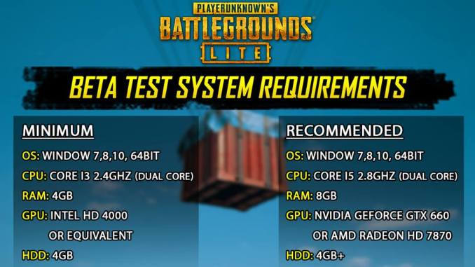 PUBG PC lite minimum requirment