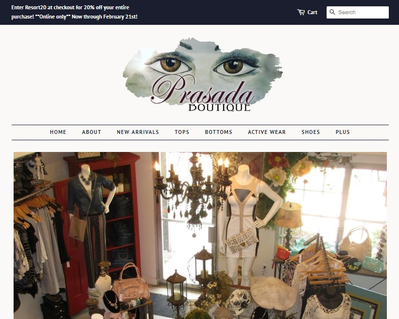 Prasada Boutique - Web Design Preview