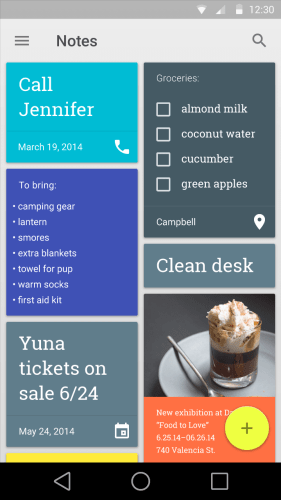 Google Keep - Android L User Interface - Techzei