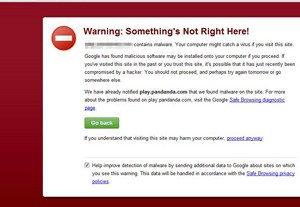 google malware phishing page