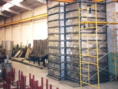 Montaje ladrillos plomo para desmantelamiento central nuclear