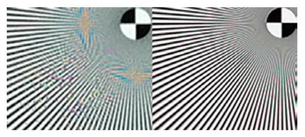 Foto de 5 MP comum (à esquerda) e uma foto de 5 MP gerada a partir de oversampling (à direita)
