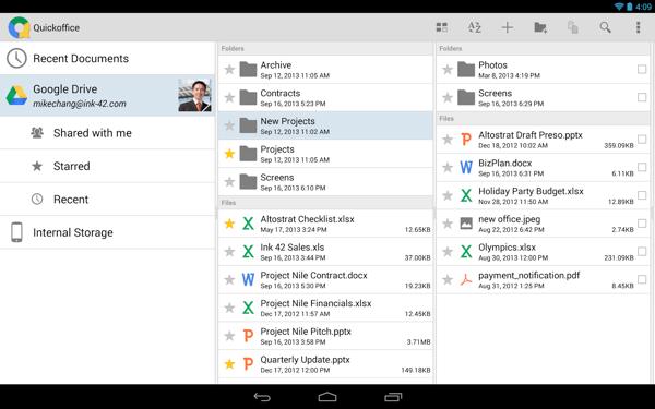 Quickoffice em um tablet Android