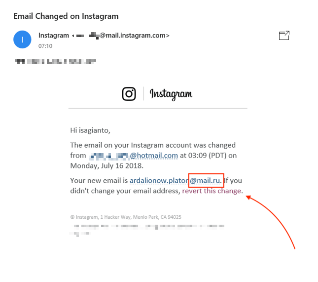 Instagram Russia Email Hack