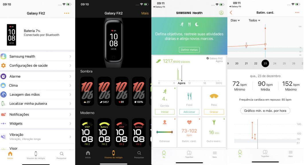 App Galaxy Fit (direita) e Samsung Health (esquerda)