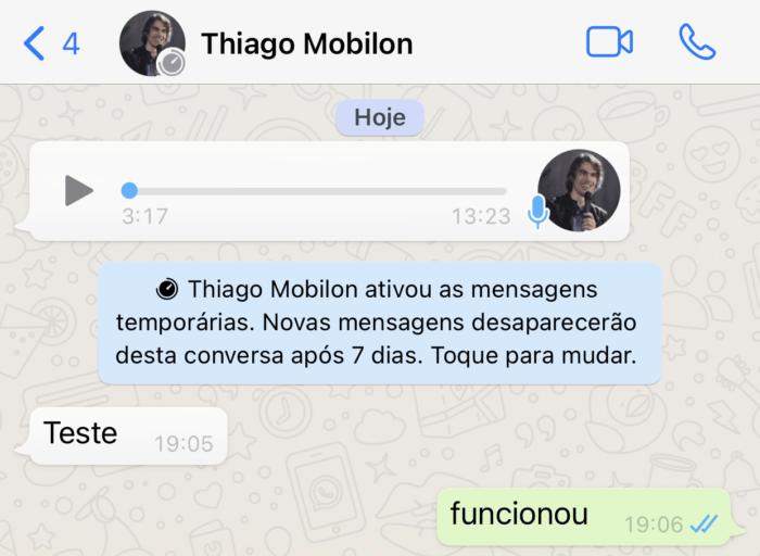 Teste das mensagens temporárias (Imagem: Reprodução/WhatsApp)