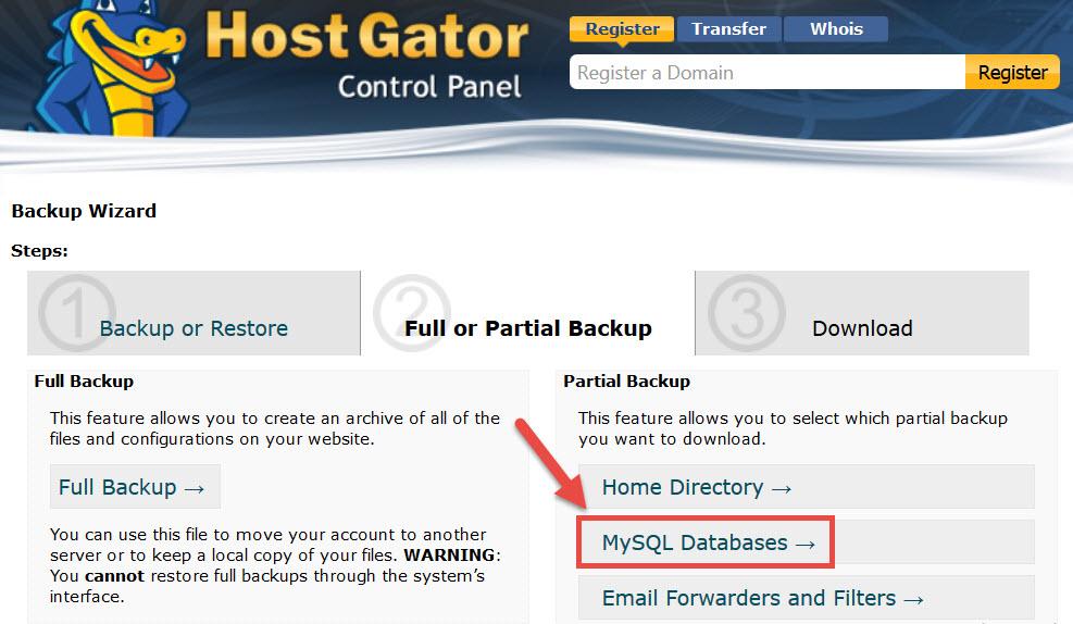 Neste passo você tem a opção de criar um backup parcial ou um backup total, para este exemplo eu escolhi fazer um