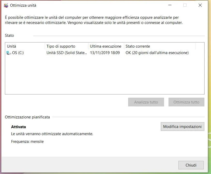Come deframmentare il disco su Windows 10