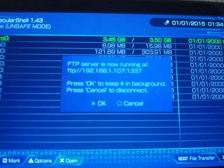 datos FTP para VitaShell
