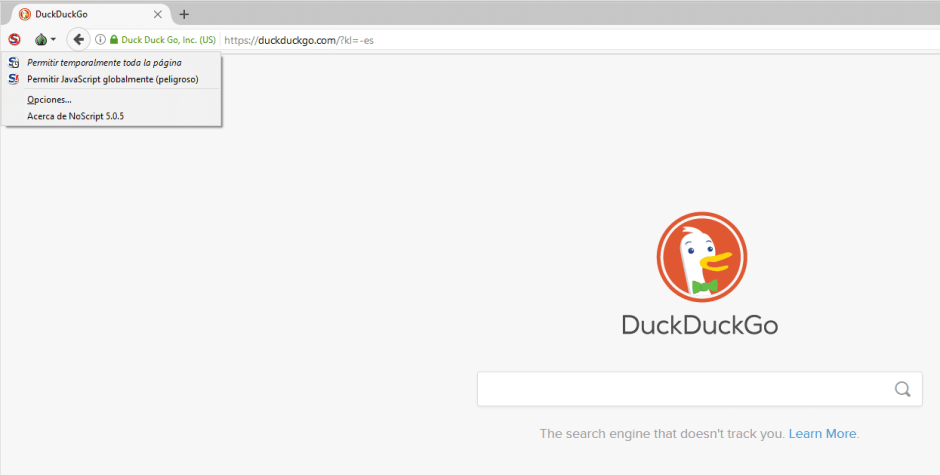 duckduckgo en tor browser