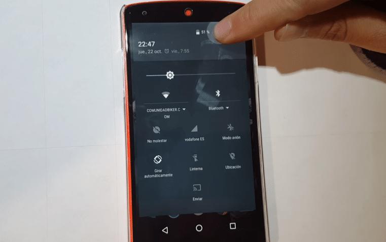 menú de configuración rápida Android