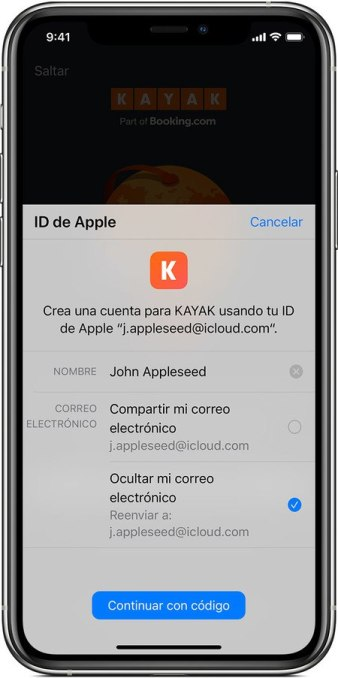 iniciar sesión con Apple