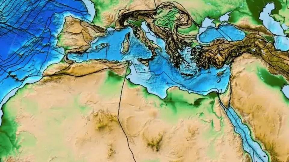 Continente Gran Adria en el Mediterráneo