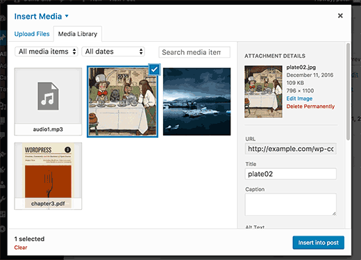 Select your image from media library