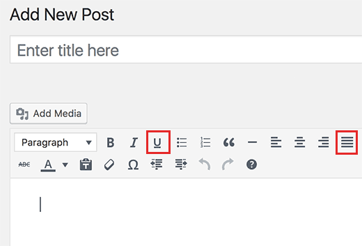 Underline and Justify text buttons added back in WordPress post editor